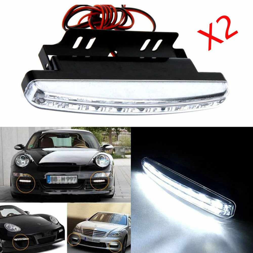 2017 2Pcs 12V 8W 8LED Daytime Running Light Waterproof External Led Car Styling Car Light Source Fog Bar Lamp White FreeShipping