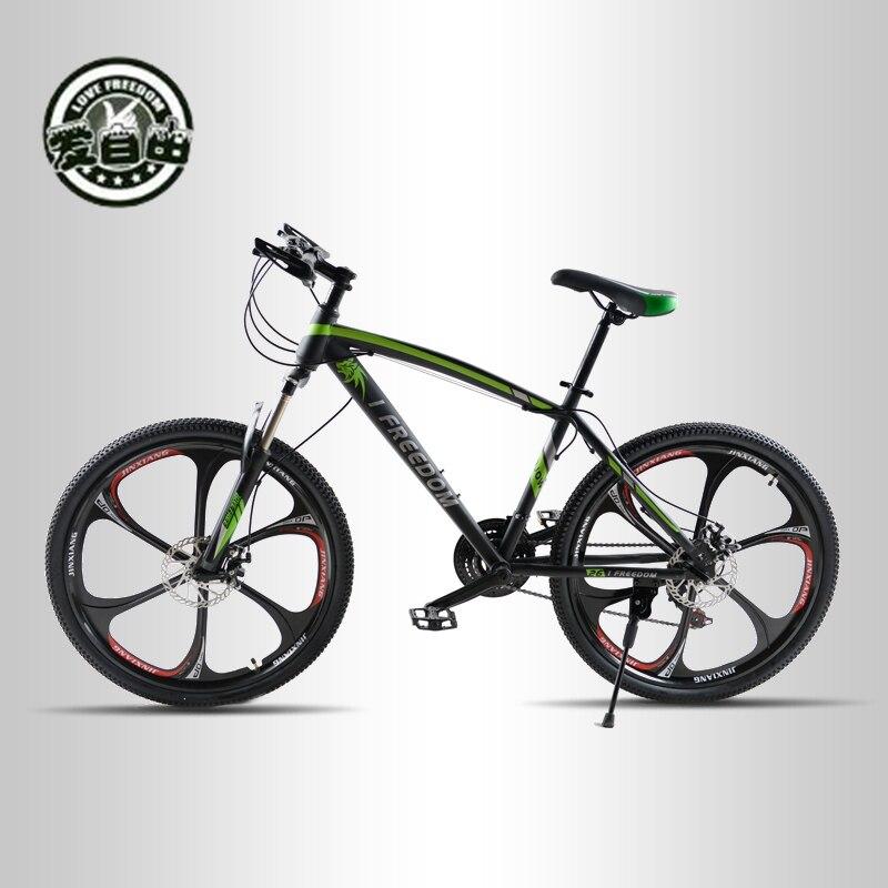 Amam A Liberdade 21 Velocidade Freios A Disco Duplo de Mountain Bike Polegadas Alta do Aço-Carbono Uma Roda Velocidade Amortecimento Das Mulheres Dos Homens estudante Bicicleta
