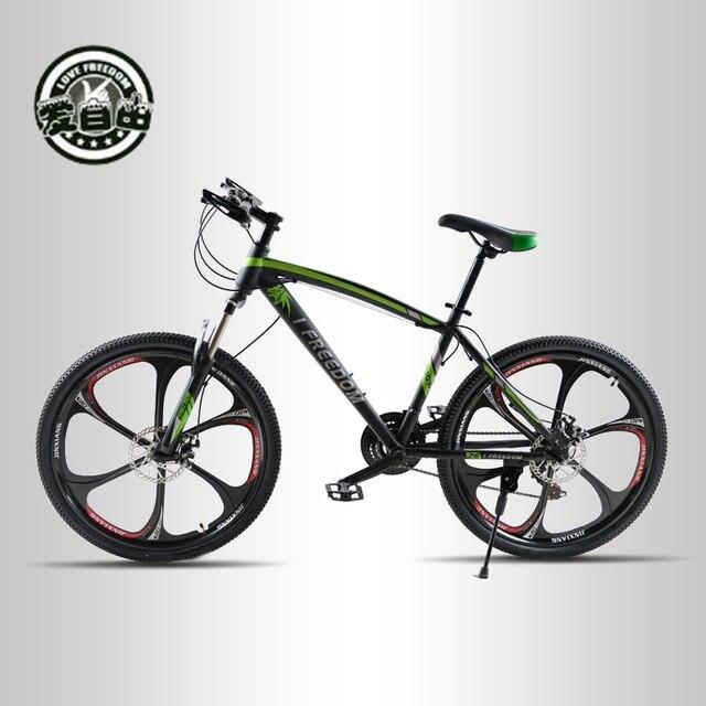 Love Freedom 21 Скорость горный велосипед 26 дюйма высокоуглеродистой Сталь двойной дисковые тормоза одно колесо Скорость демпфирования для мужчин Для женщин студент Велосипедный Спорт