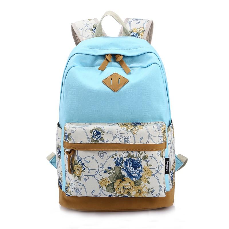 5 pcs of BEAU Floral Canvas Bag Backpack School for Teenager Girl Laptop Bag Printing Backpack Women Backpack light Blue