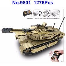 9801 1276 шт. военный пульт дистанционного управления rc m1a2 основной боевой танк расстояние 50 м может вращаться Запуск строительный блок игрушка