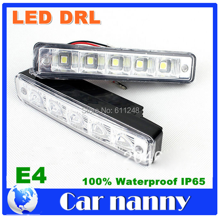 Wholesale High quality 5050SMD LED daytime running light 100% waterproof E4 DRL LED car fog lights 2pcs brand new high quality superb error free 5050 smd 360 degrees led backup reverse light bulbs t15 for jeep grand cherokee