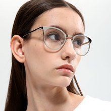 Pop Age Vintage Round Clear lens glasses Gradient High quality Metal Ladies Optical Plain Oculos Luxury Eyeglasses Frame