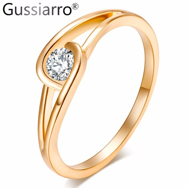 Gussiarro 2019 Big Promotion Exquisite Gold-Color Micro Inlay Clear AAA Round Cu