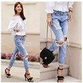 Denim jeans pantalones mujeres grandes del agujero rasgados pantalones vaqueros de diseño pantalones de las mujeres vintage marca primavera verano 2016 capris pantalones lápiz Sml