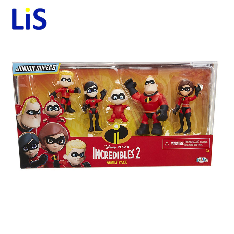 5pcs/lot The Incredibles 2 Superman Dash Parr Jack Parr Elastigirl PVC Action Figure Model Toys 4-10cm christmas gift maria parr vilgukivioru tonje