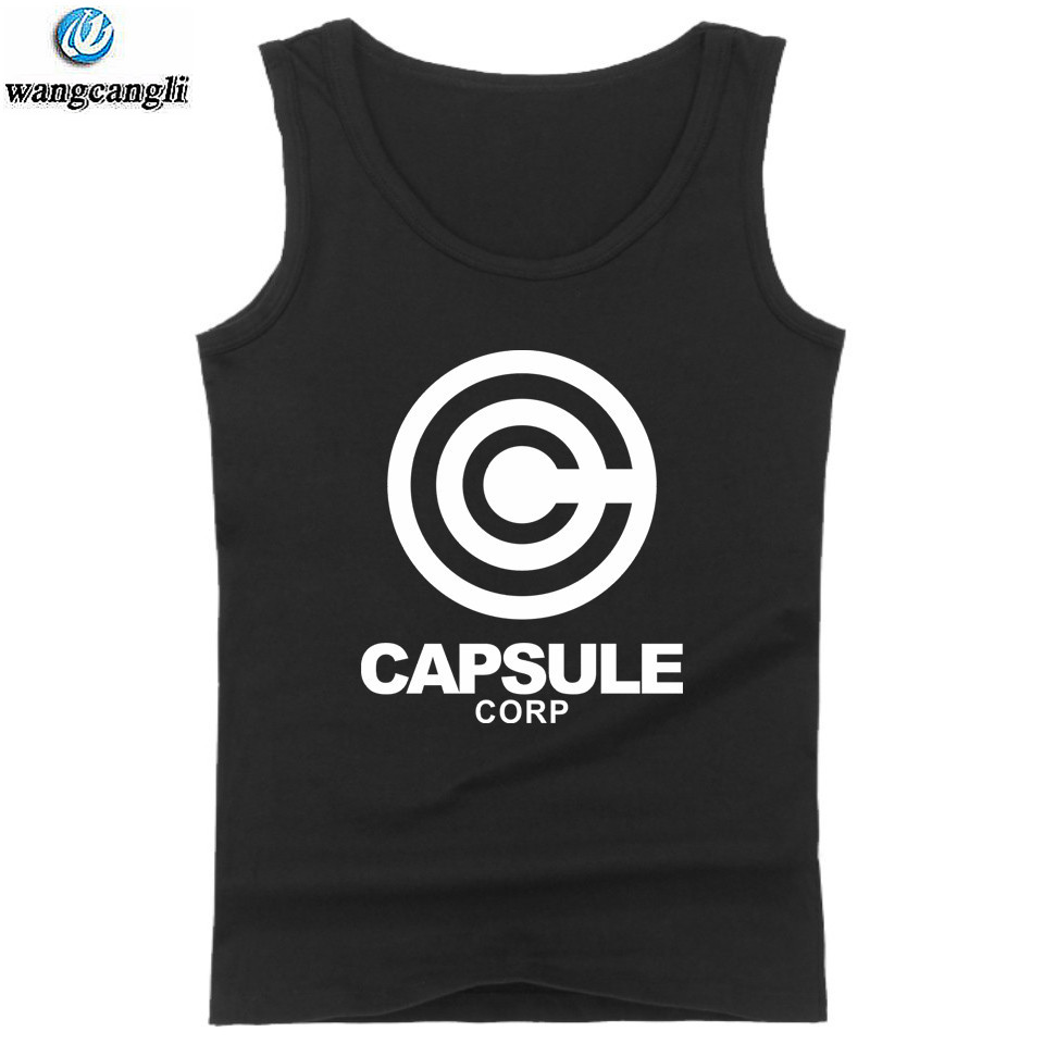 Dragon Ball Z CAPSULE CORP. cotton   tank     tops   oversize summer vest casual fitness   tank     top   men bodybuilding sleeveless shirt 4XL