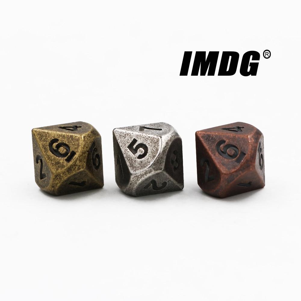 1 шт. D10 (0-9) многогранная ролевая игра игральные кости 10-сторонние аксессуары металлические игральные кости DND разные цвета цифровые игральн...