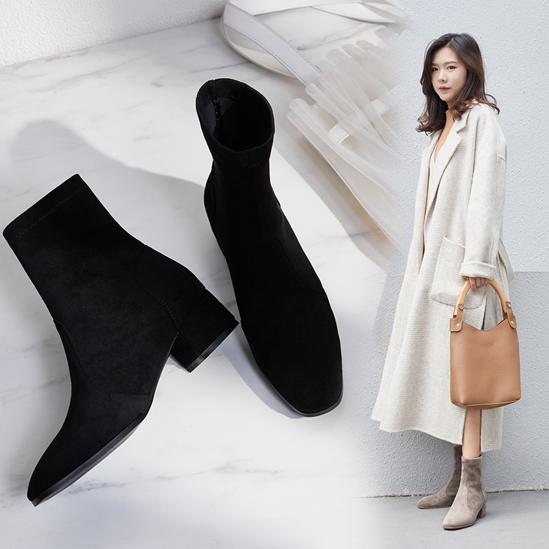 Vangull Women elastic fabric FLOCK Boots suede short boots fashion Handmade Classic pointed toe Sheepskin insole all-match 1