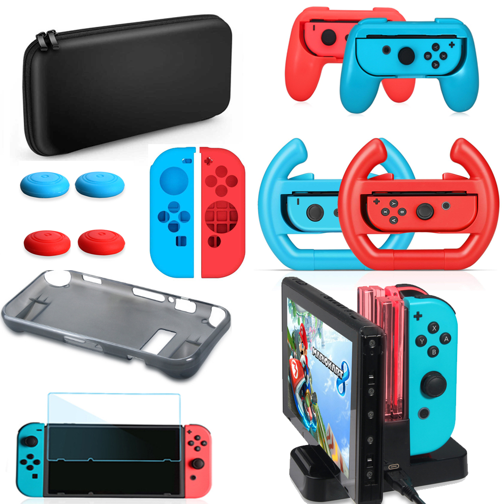 Nintendos Switch Accessories kit,Wheel Grip Caps Carrying Case Screen Protector Controller Charger for Nintend Switch Games
