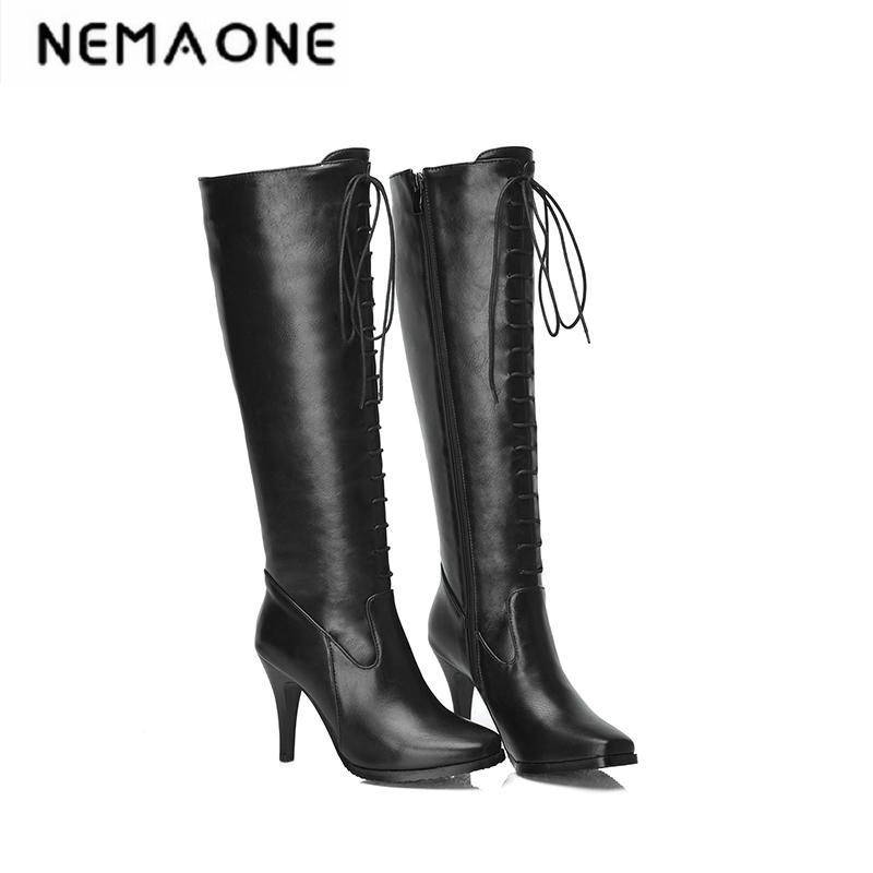 New women british style thin high heel women boots lace up knee high women boots party shoes woman large size 34-43 british style women s knee high boots with solid color and ruffle design
