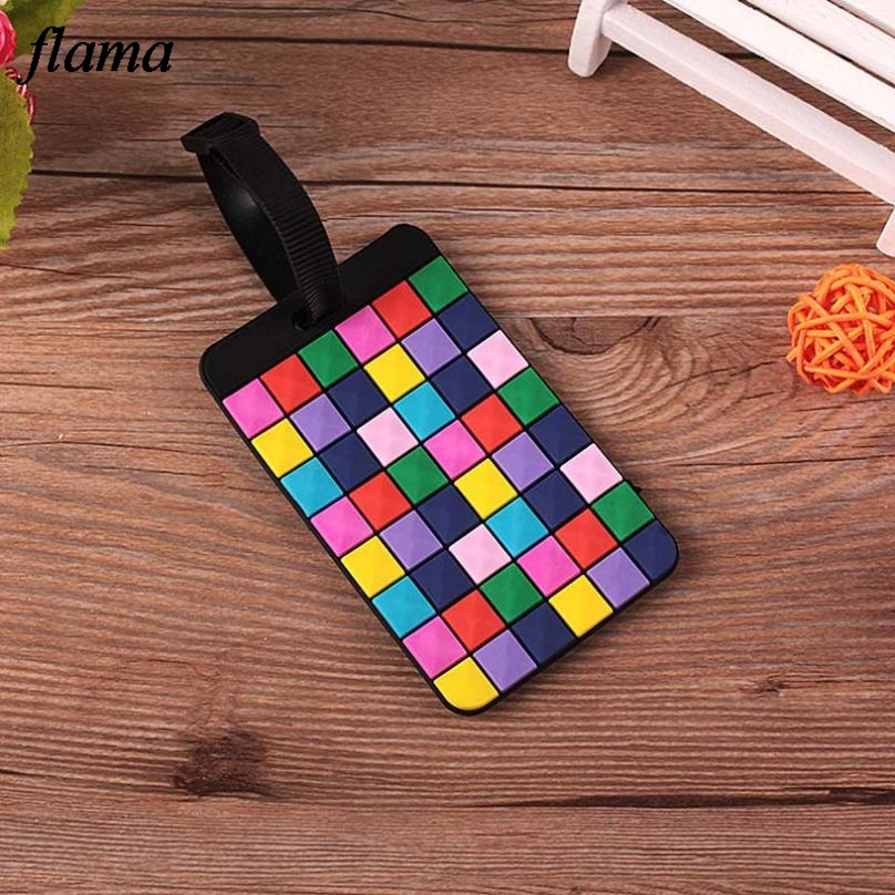 New travel accessories Suitcase Luggage Tags ID Address Holder Luggage Label Geometric Silicone Identifier bag accessorie D45Ma8