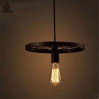Industrial Loft Wheel Pendant Lamp Creative Pendant Lights Personality Retro Restaurant Bar Vintage Home Decor Lights