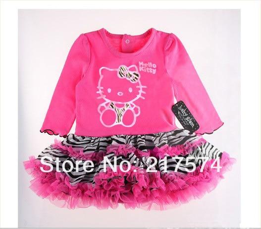 Wholesale Hello Kitty Girls 2013 Summer Princess dress 100% cotton hello kitty tutu dress free shipping red black  2colors
