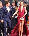 Sexy V-Neck Burgundy  High Slit Long Celebrity Dresses Red Carpet Icon robe de star courte celebrity tapis rouge rouge 2017