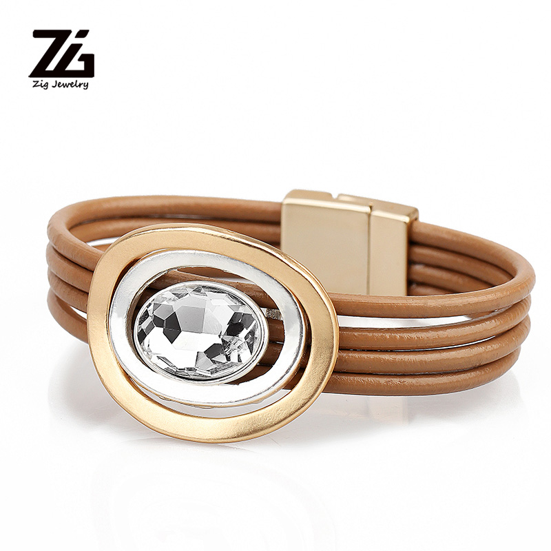 ZG Fashion Sliver Leather Bracelets 2019 For Women Multiple Layers Crystal Charm Bracelet & Bangles Jewelry Gifts