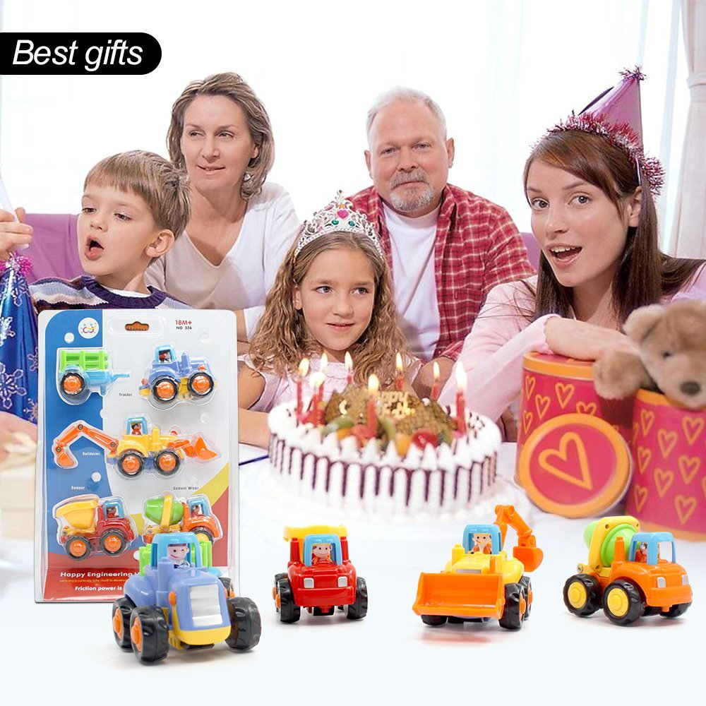 Купить с кэшбэком Inertia Early Educational Toddler Toy Friction Powered Push and Go Cars Tractor Bulldozer Dumper Cement Mixer Engineering Toy