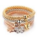 3Pcs Crystal Bracelet Women Gold Color Filled Bracelets Bangles Jewellery Elastic Charm Chain Gifts pulseira feminina