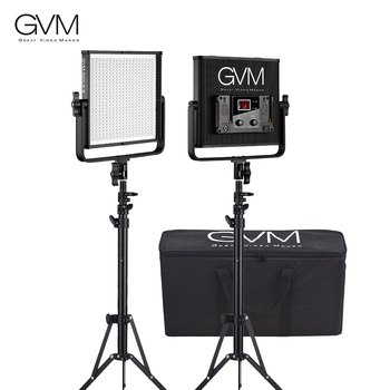 GVM GVM-520LS-B 2pcs LED Video Panel Light and 70inch Stand Lighting Kit Aluminum Alloy Housing with U-Bracket Interview Studio