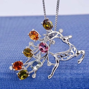 Cute elk, dual-use jewelry, natural tourmaline brooch, beautiful colors, 925 silver, natural gemstones, certificate