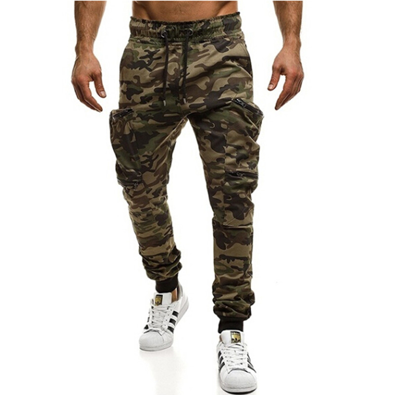 New European And American Fitness Sportswear Pant Pocket Stitching Casual Harem Pants Camouflage Pleated Trousers