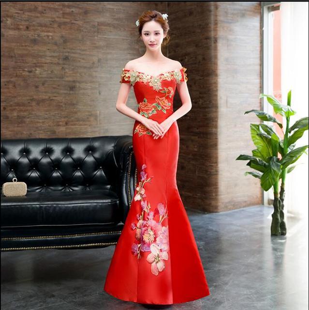 Modern Chinese Traditional Dress Red Long Qipao Flower Mermaid ...