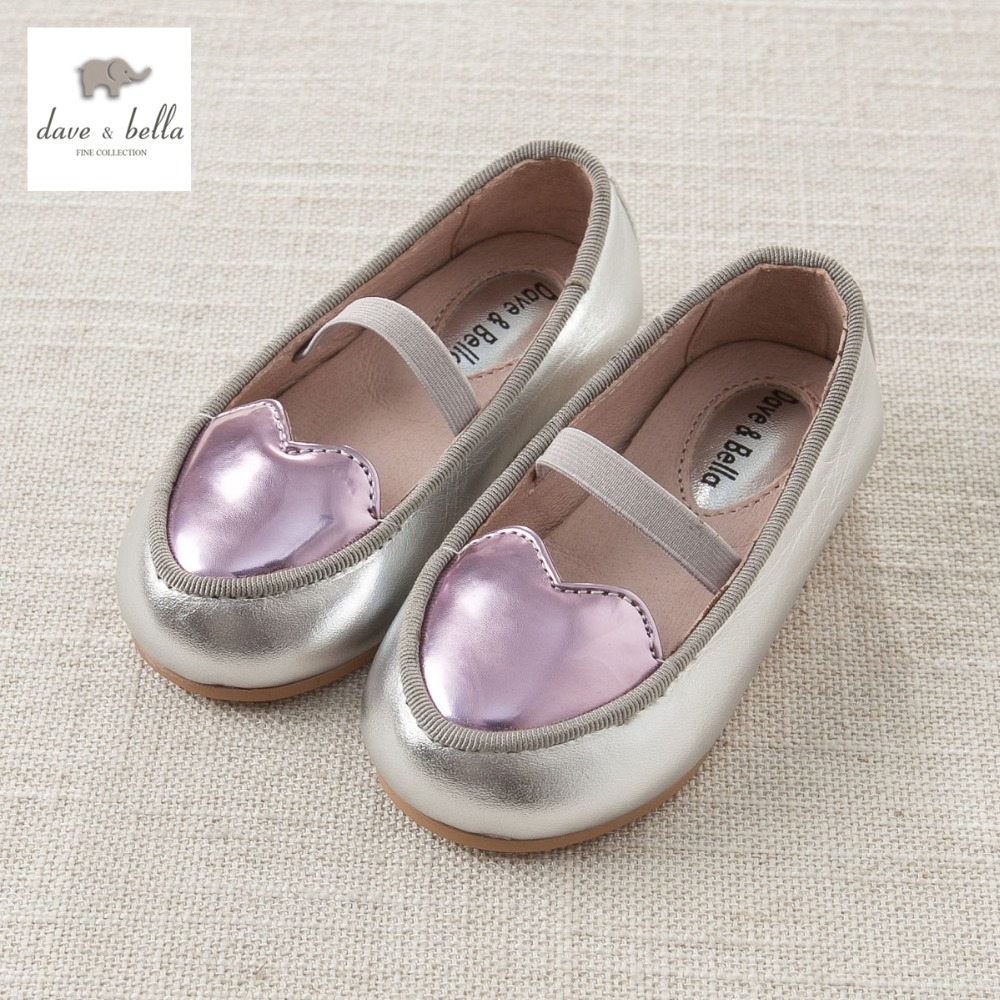 DB4174 davebella genuine leather girls dancing shoes with love girls fancy leather shoes