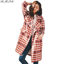 Warm Cashmere Plaid Padded Woolen Coat 2017 Winter Women Wool Blend Coat Fashion Long Trench Female Outerwear Winter Jacket LY03