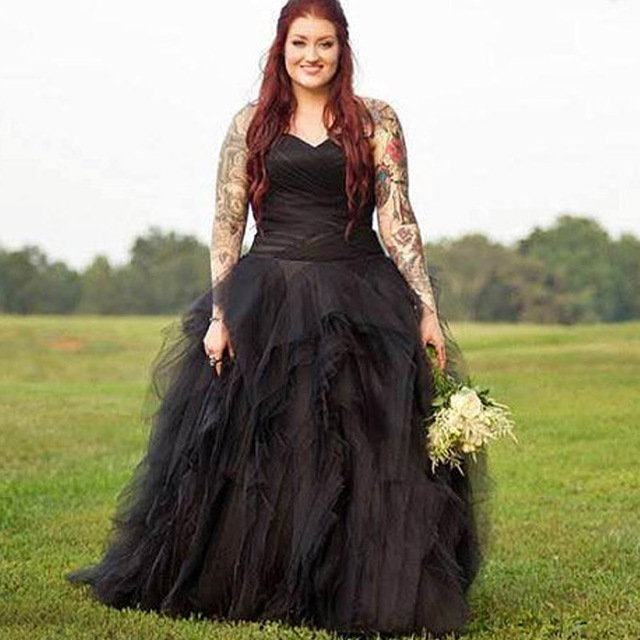 Gothic Black Lace Wedding Dress Long Ball Gown Bridal Gown: Gothic Black Wedding Dresses Plus Size Ball Gowns Puffy