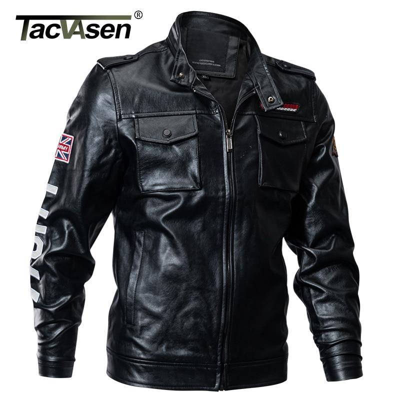 TACVASEN Winter Men Tactical PU Leather Jacket Slim Military Bomber Jacket Coats Army Pilot Jacket Motorcycle Coats TD-QZQQ-011