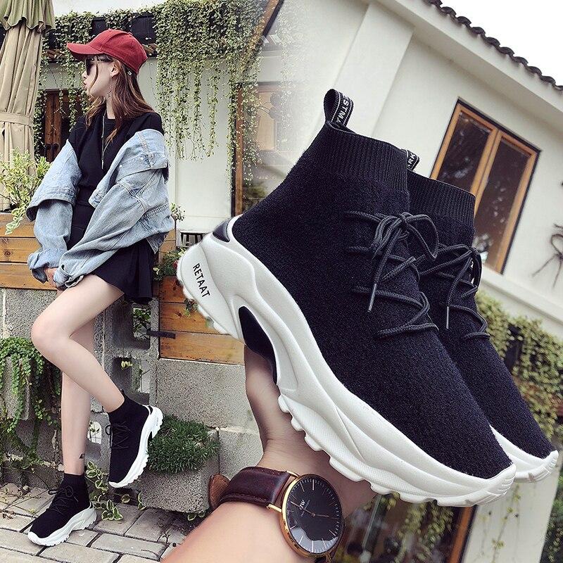 Elásticas Tobillo Punto Zapatillas De 2018 Hip Nuevas Calcetín pop Zapatos Planos Negro Botas Cómodos Moda wP04qX0