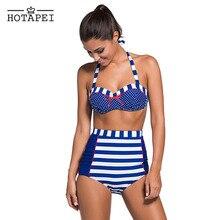 Hotapei Mujeres Sexy Bikini de Talle Alto Bikini Set Retro Push Up Bikini Acolchado traje de Baño Brasileño traje de Baño Traje de Baño Ropa de Playa