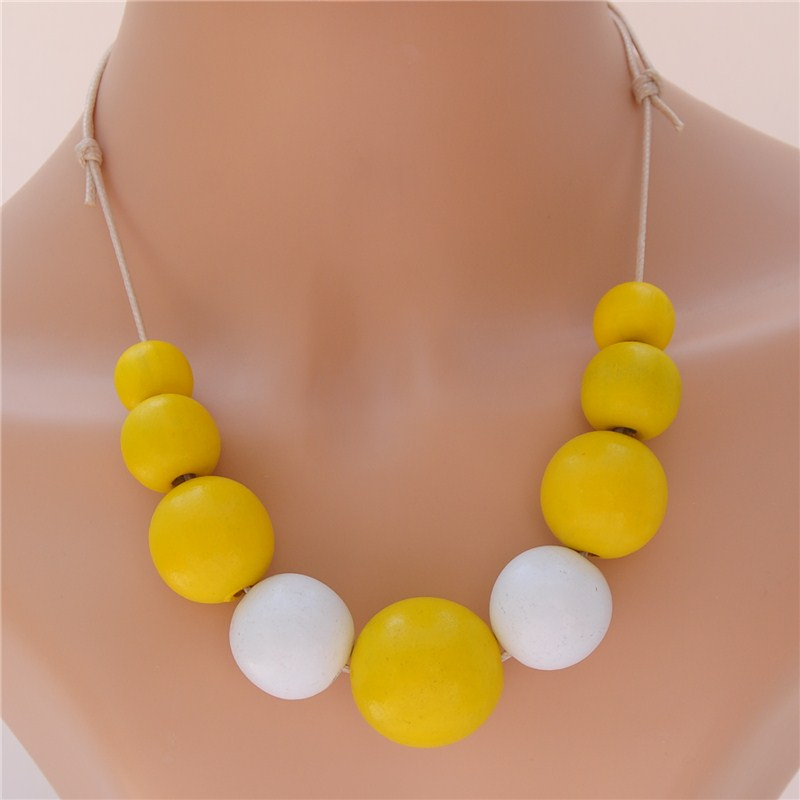 1PC Colorful Round Wood Ball Beads Necklace DIY Nature Wooden Adjustable Rope Jewelry For Women 2019