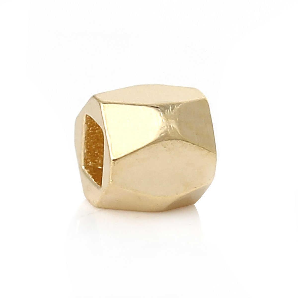 """DoreenBeads медные бусины-спейсеры Куб золотой цвет граненый около 3,4 мм (1/8 """") x 3,4 мм (1/8""""), отверстие: около 1,7 мм x 1,7 мм, 5 штук"""