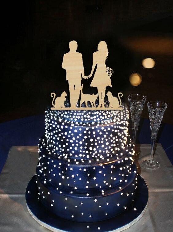 9dbbd8c517 Personalizado acrílico wedding cake Topper novia y novio con 3 Gatos cake  Topper único regalo para aniversario partido decoración regalo