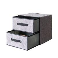 Large Capacity Double Drawer Bra Socks Organizer Organizer Cotton Washable Cloth Storage Box Folding Clothing Storage Box