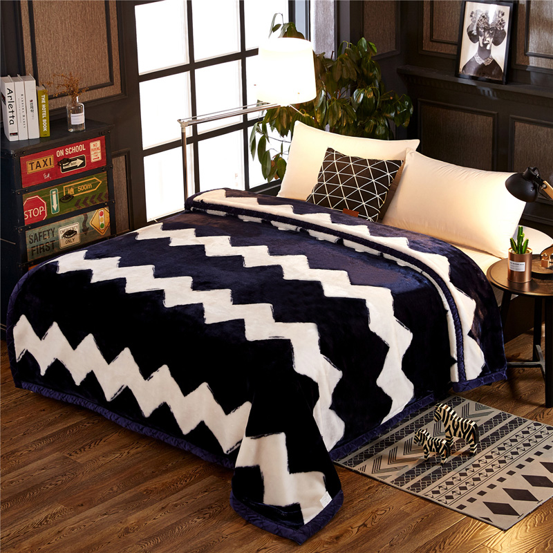 Winter Fashion Blue Chevron Wave Thick Warm Raschel Fur Double Layers Plush Faux Mink Flannel Blanket Throw Twin/Full/Queen Size thick warm double layer flannel plus sherpa man made lamb fur blanket 145x195cm