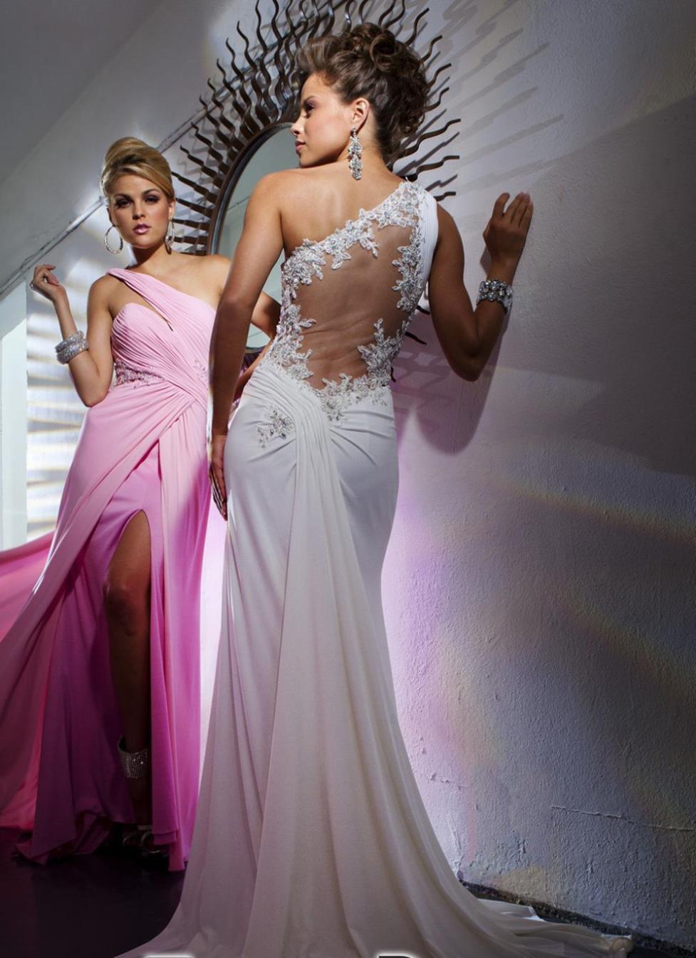 free shipping 2016 new design Sexy one shoulder chiffon Beads Long open leg appliques Party gown Custom size color Prom Dresses in Prom Dresses from Weddings Events