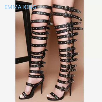 New Buckle Decor Women Over The Knee Gladiator Sandals Boots Open Toe Sexy Thin High Heels Shoes Ladies Summer Fashion Punk Boot