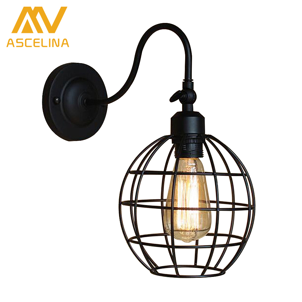 ФОТО  American simplicity  Industrial  Vintage Iron cage Wall Lamps lamp-chimney Edison Light Bulb Fixture Balcony aisle wall light