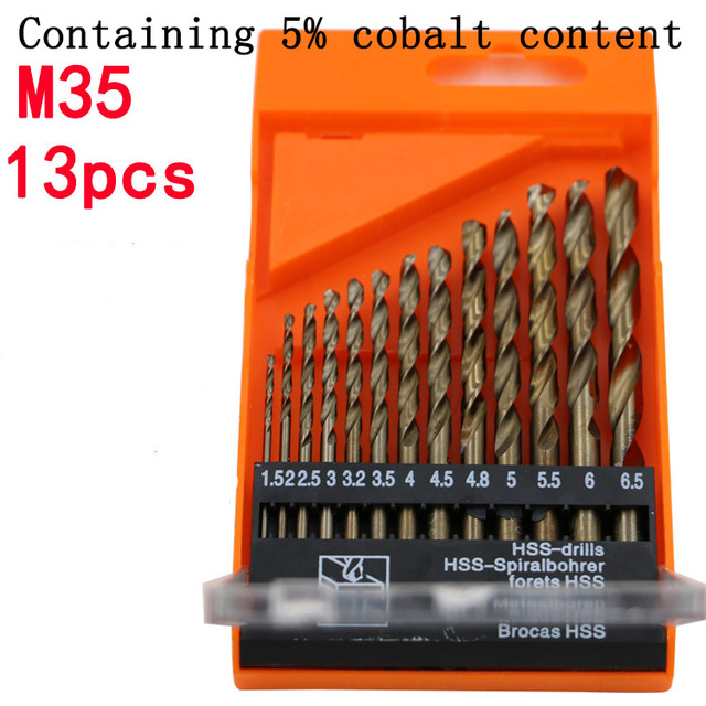 13pcs/Set M35 Speed Steel Drill Bit Set Tool 1.5mm - 6.5mm Containing 5% cobalt content