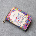 21 Style Of Pattern Selection Hand-Painted Lady Leather Credit Card Holders Wallet Purse Zipper Design Cute Girl Floral Purse