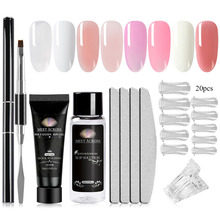 MEET ACROSS 20ml Poly Nail Gel Crystal Extend UV Nail Gel Builder Led Gel Nail Art Gel Lacquer Pink Jelly Acrylic Slip Solution cokekou led hard jelly gel thick nail art manicure mold clear pink camouflage jelly builder nail extend uv soak off gel lacquer