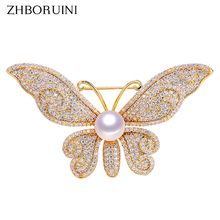 ZHBORUINI High Quality Natural Freshwater Pearl Brooch Zircon Micro Insert Butterfly Jewelry For Women Not Fade