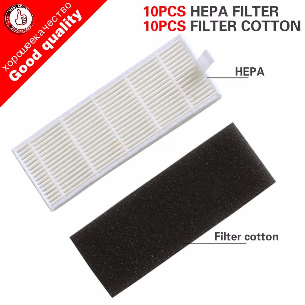 10pcs Sponge+10pcs Filters for ILIFE Cleaning Robot Replacement for chuwi ilife A4 A4S A6 Robot Vacuum Cleaner hepa filter