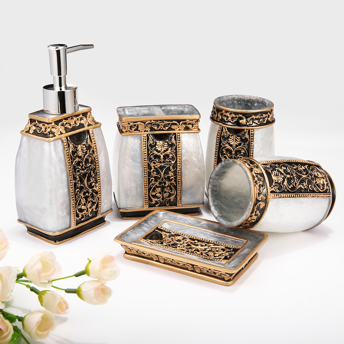 Bathroom Dispenser Set Us 37 34 49 Off Resin 5pcs Bathroom Set Toothpaste Cup Tumbler Toothbrush Holder Soap Dish Dispenser Set Gold Silver Bathroom Accessories In