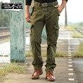 Pantalones militares de la vendimia overol de lavado con agua masculina 100% algodón bolsas de pantalones casuales 2017 de primavera y otoño