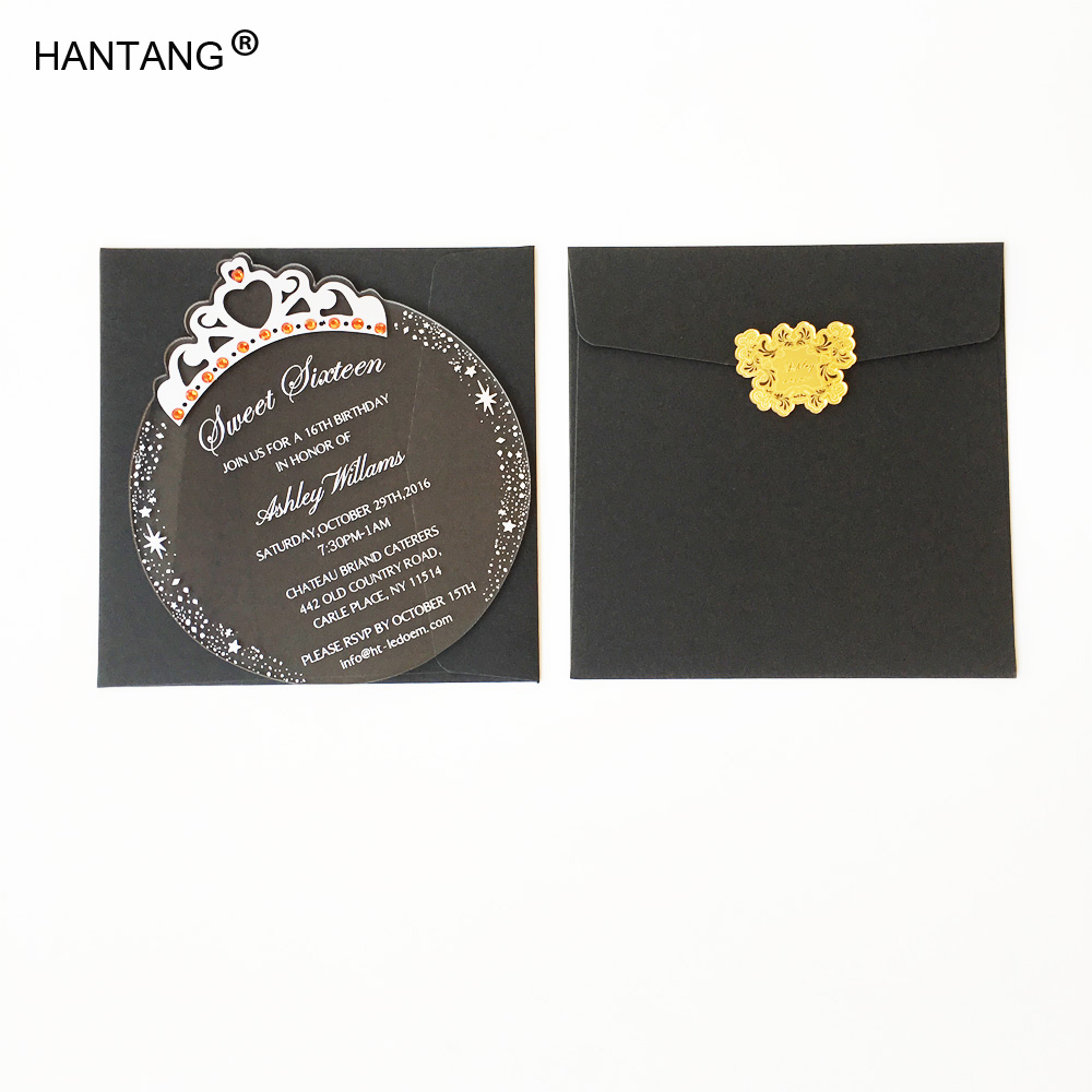 150x170mm Round Princess Crown Shape Clear Acrylic Birthday Invitation Card Sweet Sixteen Invitation Card 100pcs Per Lot-in Cards & Invitations from Home ...