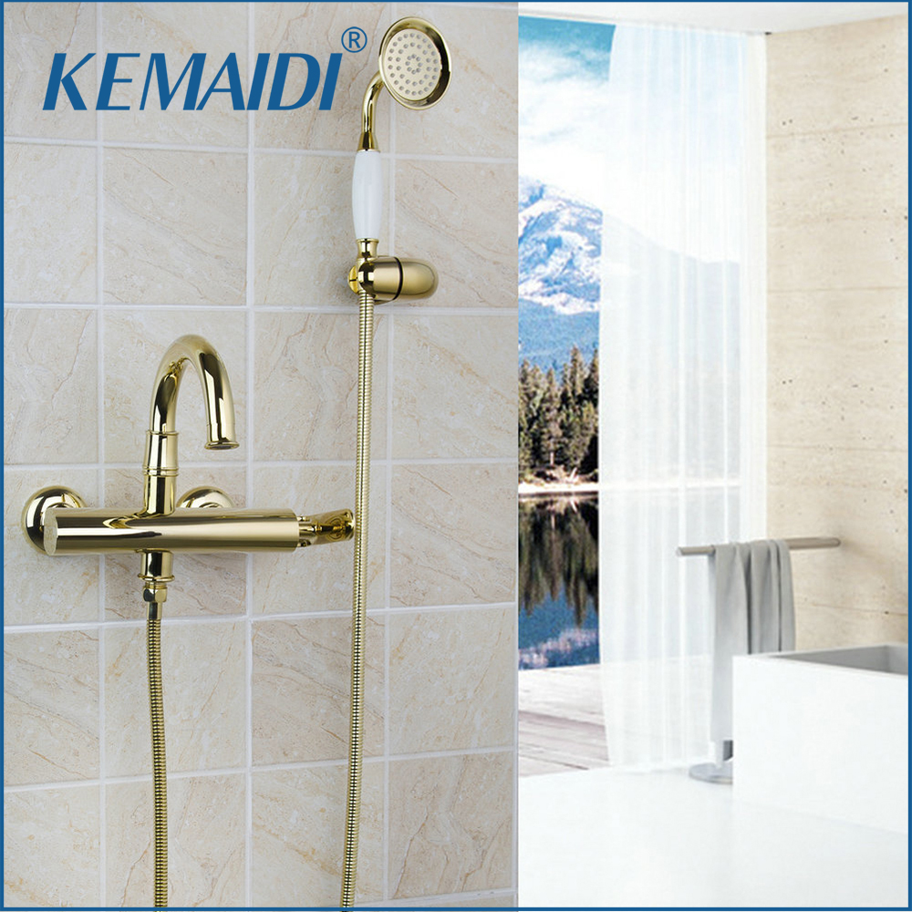 KEMAIDI Shower Set Faucet Mixer Rain Tap Head Wall Chrome Hand Tub Mount Bathroom Sprayer Rainfall Valve Gold Finished 2018 New wholesale and retail wall mounted thermostatic valve mixer tap shower faucet 8 sprayer hand shower