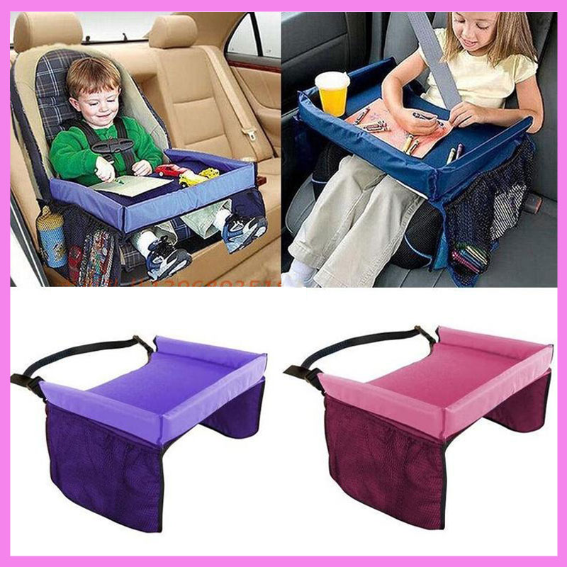 Kids Baby Car Seat Snack Toy Tray Holder Baby Stroller Pram Accessories Waterproof Portable Travel Drawing Tray Play Food Table